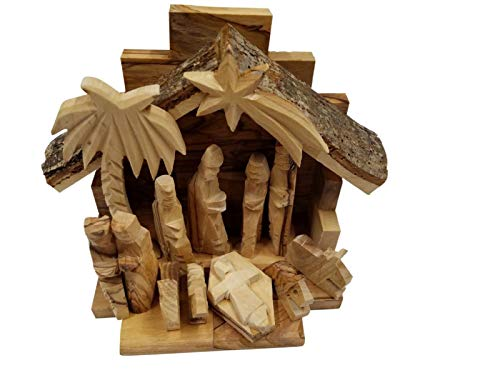 "Bethlehem Gifts TM Handcarved Bethlehem Olive Wood Miniature Nativity Scene Set with Stable 12 Pieces (Stable 6"" and 3"" Figurines)"
