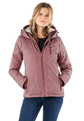 Sublevel Damen Winter-Jacke mit Fell Kapuze Sportlich Dark-Rose L