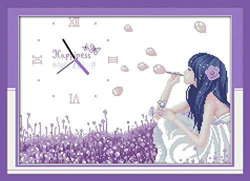 Happy Bubble Kit de punto de cruz 11CT 40x50cm cuenta impresión lienzo reloj de pared costura bordado DIY hecho a mano costura