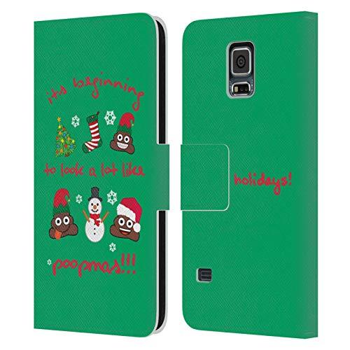 Head Case Designs Licenza Ufficiale Emoji Happy Poopmas Natale Cover in Pelle a Portafoglio Compatibile con Samsung Galaxy S5 / S5 Neo