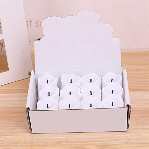 Jnyyjc Luz de Las Velas 12 Piezas Blanco cálido No Parpadeo del LED eléctrico Tealight Velas, sin Llama for Navidad de la Boda de Vacaciones (Color : White)