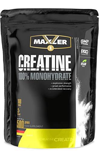 Maxler Creatin Monohydrat 500 g - Vegan Nahrungsergänzung für Kraft Training - Creatin Pulver für Gewicht zunehmen, Wiederherstellung und Muskelaufbau - Neutraler Geschmack - 166 Creatin Portionen