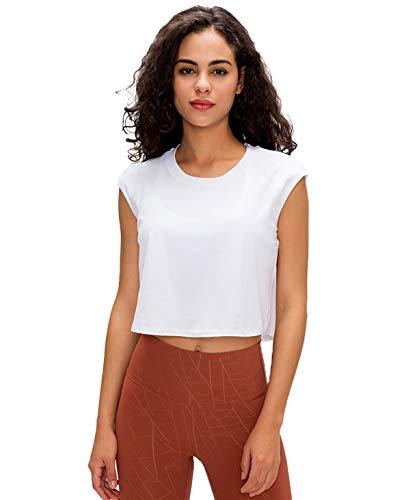 GOLDEN® Damen Yoga Sport & Fitness Tank Top, Workout Shirt Activewear Für Frauen Ärmellos Rundhals, Sporttop, Oberteil (Reines Weiß, L)