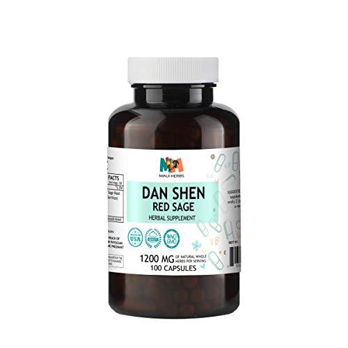 Dan Shen (Red Sage) 100 Capsules, 1200 mg per Serving, Organic Dan Shen Root (Salvia Miltiorrhiza)