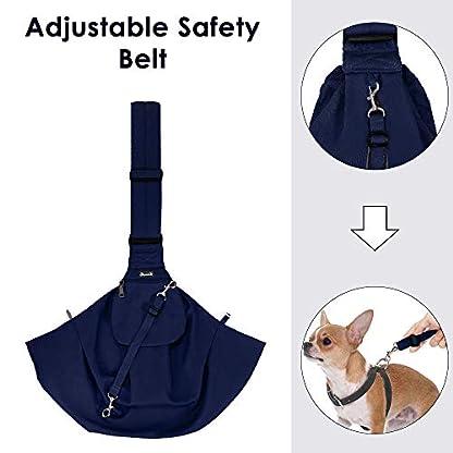 Nasjac Small Dog Puppy Sling Carrier, Hands Free Cat Sling Carry Dog Papoose Carrier Tote Bag with Pocket Safety Belt Adjustable Padded Shoulder Puppy Bag Sling for Daily Walking 2