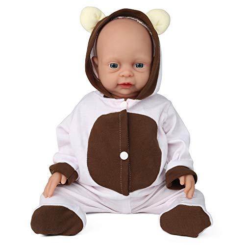Vollence Poupée Reborn bébé réaliste 46 cm, sans PVC, Silicone Platine, Corps Complet Aspect et Poids réalistes, Doux fabriqué à la Main avec vêtements - Fille