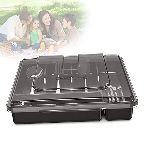 EnweLampi Cutlery Tray with Lid, Kitchen Flatware Organiser, Sorting Plastic Storage Box, Utensils Divider for Kitchen Household And Picnic,Black