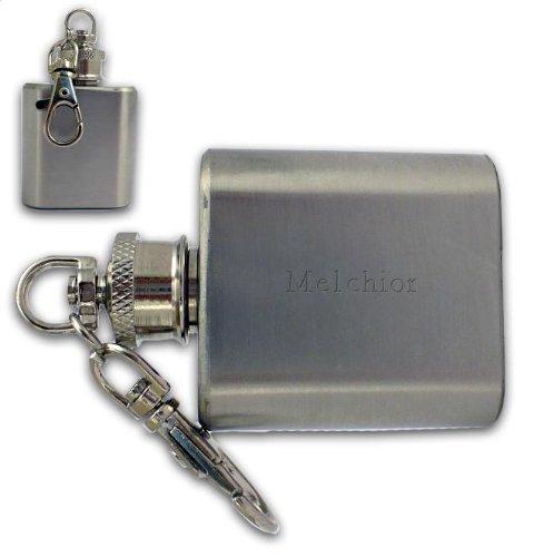 SHOPZEUS gravierte Flasche Schlüsselanhänger mit dem Aufschrift Melchior (Vorname/Zuname/Spitzname)