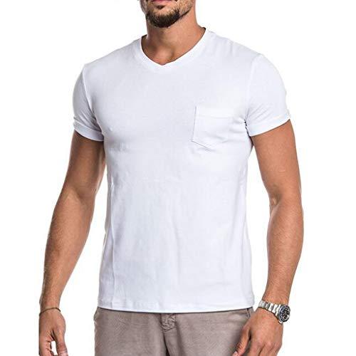 BIBOKAOKE Einfach Rundhals Fitness Herren T-Shirt Mode Bequem Baumwolle Herren Kurzarm Freizeithemden Sport muskelshirt Top Bluse