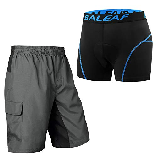 BALEAF Men's Mountain Bike Shorts 3D Padded + Cycling Underwear Shorts with Padding, Size L