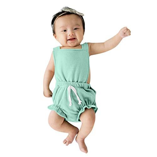 LEXUPE Kleinkind Baby Jungen Mädchen Hosenträger Feste gestreifte Rüschen Rückenloser Strampler Overall(Grün,100)