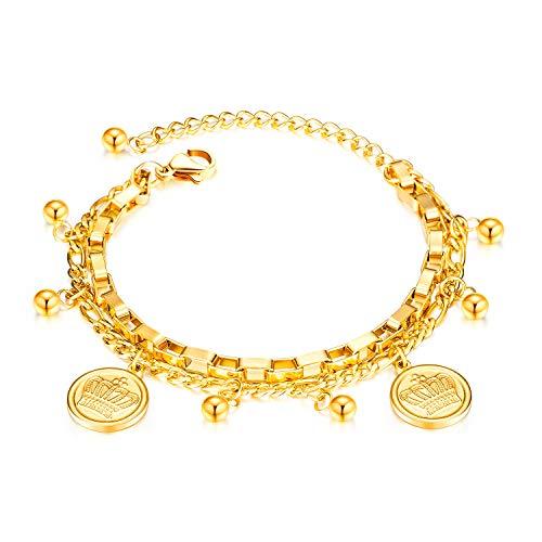 Deelfel ブレスレット レディース ステンレス ゴールド 18金 刻印 王冠 円形 コイン 腕輪 おしゃれ 2連チェーンブレスレット サイズ調整可能 金属アレルギー対応