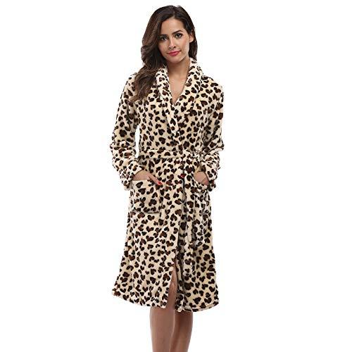RFGHATG Paar Leopardenmuster Robe Winter Pyjama Kimono Robe Hotel Spa Langarm weicher Bademantel