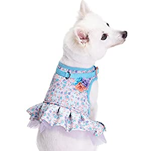 Blueberry Pet 3 Patterns New Soft & Comfy Made Well Lovely Floral No Pull Mesh Puppy Dog Costume Harness Dress in Lavender, Chest Girth 14″-16″, X-Small, Adjustable Harnesses for Dogs