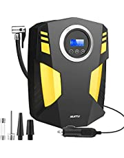 Car Tyre Inflator, 12V Digital Tyre Pump Air Compressor, 150PSI Automatic Air Pump with 3 Nozzle Adaptors,LED Light and Auto Shut Off for Car,Bicycle,Motorcycle,Balls,Balloons Etc