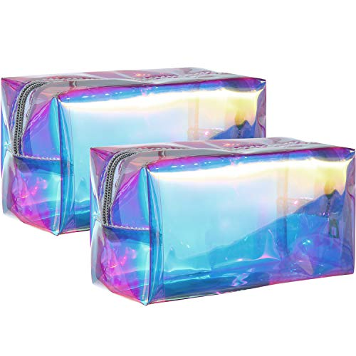 2 Pieces Holographic Makeup Bag Iridescent Cosmetic Pouch Waterproof Portable Handbag for Makeup Tools