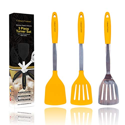 Yellow Silicone Spatula Turner Set – Stainless Steel and Silicone Heat Resistant Kitchen Utensils – 608F – Grill Spatula Tools for Bbq - Egg and Pancake Flipper – Gift Box and Bonus Recipe Ebook