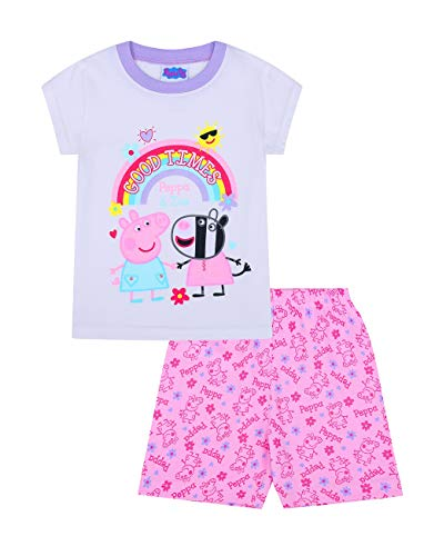 Pijama corto para niña con arco iris Zoey «Good Times» Rosa rosa 3-4 Años