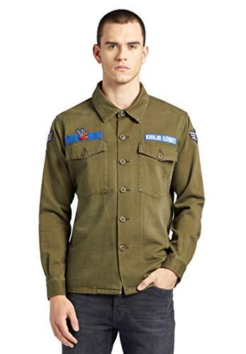 khujo Herren Jacke USSAIN Victory aus Reiner Baumwolle Hemdjacke im Military-Look mit Patches