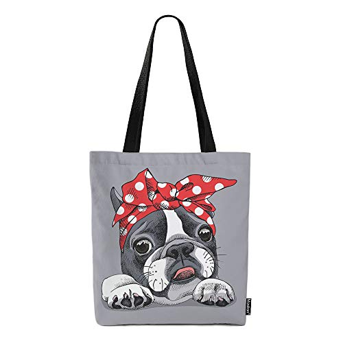 Moslion French Bulldog Canvas Bags Cute Dog with Red White Dot Headband Puppy Doggy Animal Tote Bags Laptop Bags Large Bulk Reusable for Women Men Work Study 15x16 Inch