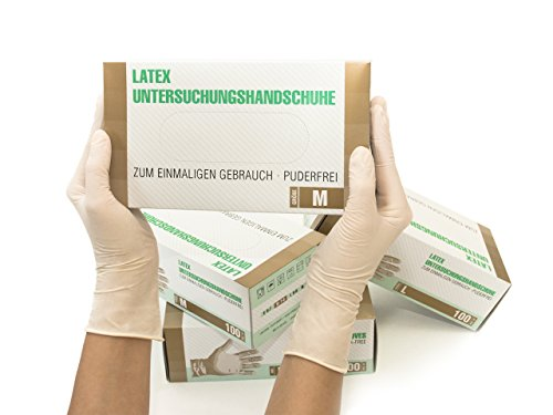 Latexhandschuhe 1000 Stück 10 Boxen (M, Weiß) Einweghandschuhe, Einmalhandschuhe, Untersuchungshandschuhe, Latex Handschuhe, puderfrei, unsteril, disposible gloves