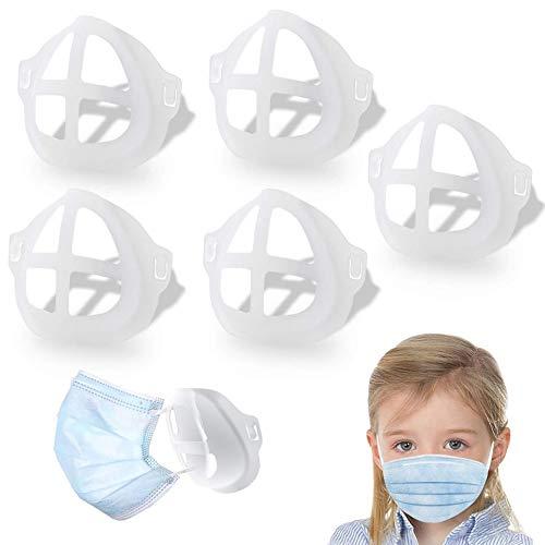 MAGIC SELECT Soporte para mascarillas interior 3D, Marco separador de silicona blanco transparente. Para respirar mejor y protección de piel y labios. (10xadultos, 5xniños) (5, Infantil)