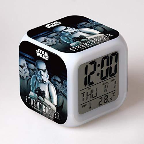 SYXLNNYYZM Sveglia dei Cartoni Animati Sveglia di Star Wars Sveglia Sveglia dei Cartoni Animati Display Digitale Sveglia per Bambini Orologio a LED Gadget elettronici con retroilluminazione