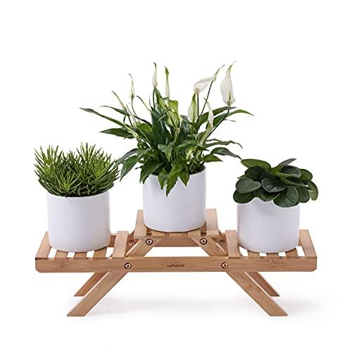 Lumaland Soporte para Plantas de Bambú - Estantería para Macetas de Madera en Interiores y...