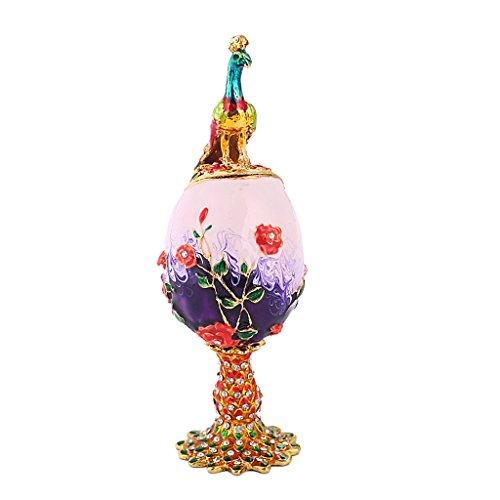 Homyl Caja de joyas con diseño de huevo de Pascua para collares, pulseras, pendientes, colgantes y relojes.