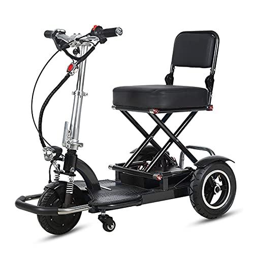 YX-ZD Scooter de Movilidad eléctrica de 3 Ruedas, Scooters de Movilidad Flexible de Servicio Pesado para Adultos, Scooter de Viaje portátil Plegable y Compacto,Negro