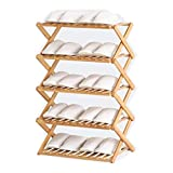 Zapatero apilable de bambú de 5 niveles, instalación libre plegable multicapa, simple hogar económico zapatero puerta dormitorio almacenamiento armario zapatero