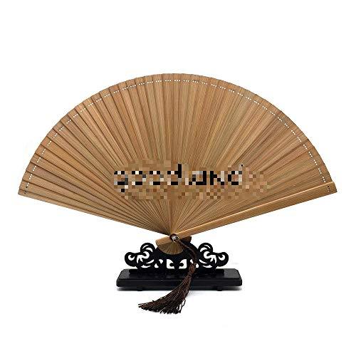 Ventilador plegable 1 PC Café Negro Chino Japonés Ventilador de mano de bambú completo Ventilador plegable de mano de bambú con borla gratis para regalo