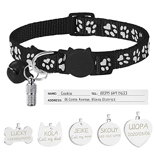 Uiopa Collar Gato Personalizado + Chapa Perro Grabada + Etiqueta de Dirección, Ajustable Collar Gato Antiahogo con Campana y Hebilla Seguro de Liberación Rápida para Gatos Perros (Negro)