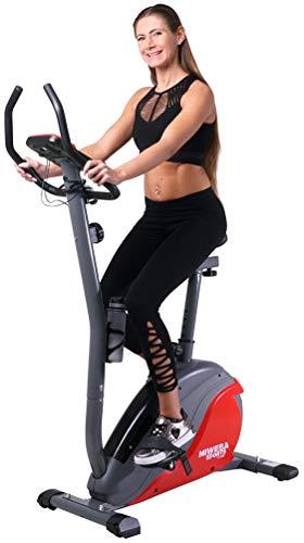 Miweba Sports Ergometer ME400 Trimmrad Cardio Heimtrainer - App Steuerung - 12 Kg Schwungmasse - Pulsgurt - Magnetbremse - LCD Display (Schwarz Rot)