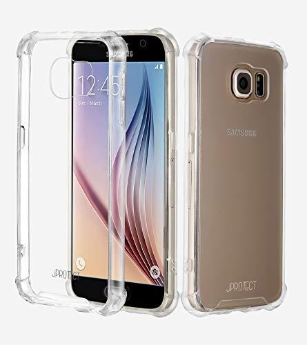 JProtect Hülle für Samsung Galaxy S6 Shockproof | Transparentes Stoßsicheres TPU | Bumper case Cover Schutzhülle | Perfekte Passform | Unterstützt Kabelloses Laden |