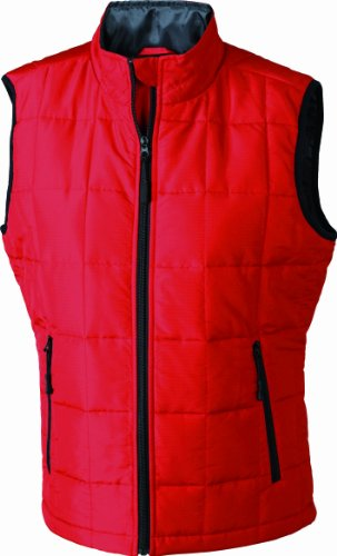 James & Nicholson Damen Outdoor Weste Steppweste Padded Light Weight rot (red/black) Small