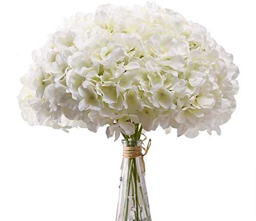 Decpro 12 STK Künstliche Hortensien mit Stielen, 54 Blütenblätter Realistische Seidenhortensien Gefälschte Blumen für Hochzeit Home Office Party Bögen Dekoration, Blumenarrangements(Creme Weiß)