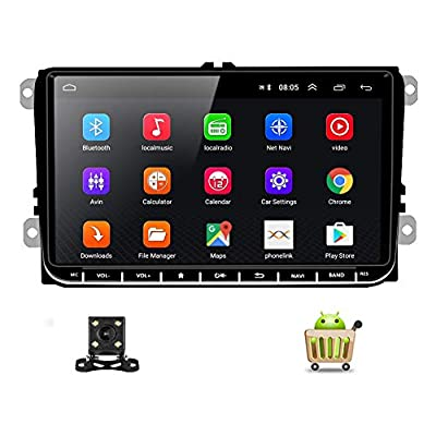 """Double Din Car Stereo Android Indash Head Unit for Volkswagen Jetta Passat Golf Touran Polo SEAT Skoda 9"""" Touch Screen with GPS Navigation WiFi Bluetooth FM USB+Backup Camera"""
