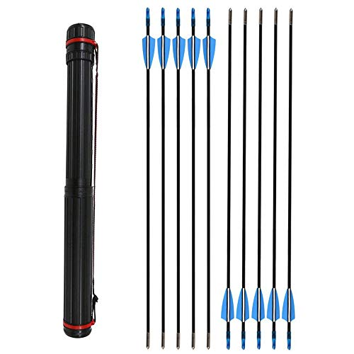 ZSHJG 12pcs Flechas de Fibra de Vidrio de Tiro con Arco de 31 Pulgadas Spine 900 Flechas de Caza con Carcaj de Flecha para Compuesto Recorvar Arco (Azul Flecha + Carcaj)