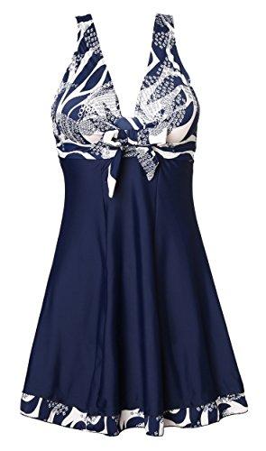 MiYang Women's One Piece High Waist Printing Swim Dress Swimwear,Navy Flower,Medium(US size:8-10)