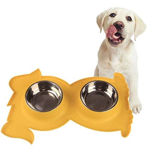 Welpen-Schalen Katze Schalen Twin-Welpen-Schalen Kleines Hundefutter und Wasser Bowl Hundenapf Edelstahl Dog Geschirr und Schüsseln Fressnäpfe for Hunde Doppel Cat Bowl blau plm46 ( Color : Yellow )
