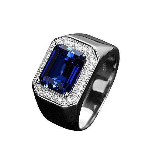 nice--buy Anillo de zafiro para hombre con diamantes laterales de corindón azul de plata de ley 925 con extremo abierto, tamaño ajustable (piedra)