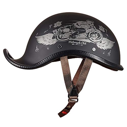 FANGJIA-Helmet Motorradhelm Herren Halbhelme Retro Harley Helm Halbe Gesicht Motorrad Sommer Motorrad Helme DOT Zertifizierung, ABS-Schale