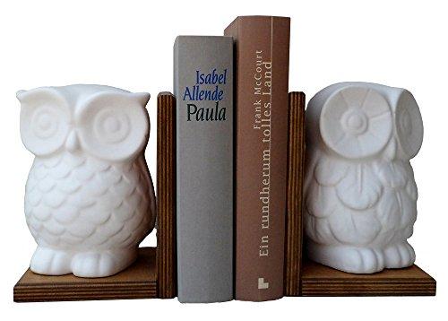 Buchstütze mit Eule, Paar, Höhe 17,5 cm, weißer Alabastermodell Gips und Holz