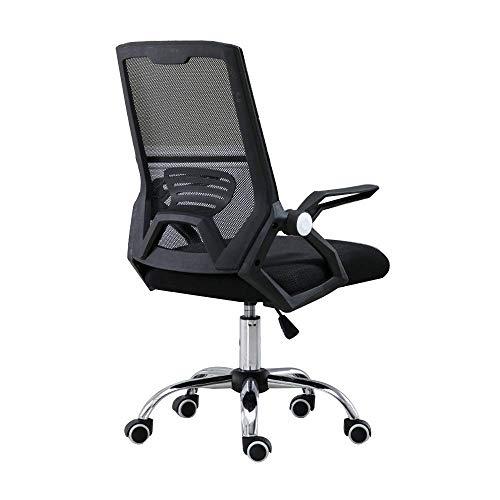 WSDSX Stuhl Computerstuhl, Handlauf mit hoher Rückenlehne Verstellbarer Netzsitz Ergonomie Sessel Erhöhender Drehstuhl für Studentenwohnheim, Schwarz