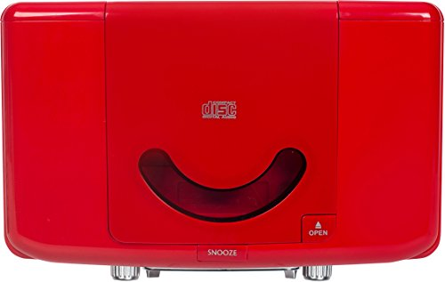 Crosley CR612D-RE Corsair Retro Am/FM Dual Alarm Clock Radio with CD Player and Bluetooth, Red