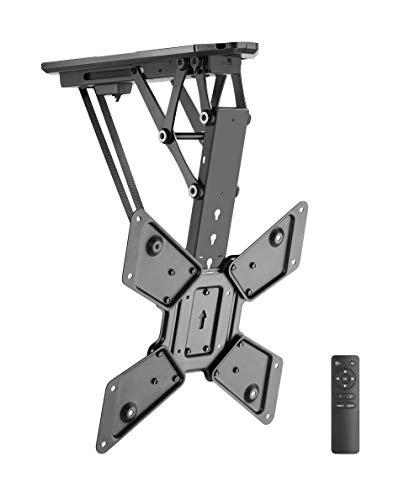 "TechOrbits Motorized TV Mount - Electric Ceiling TV Mount Indoor Outdoor for TVs 23""-55"" - Pull Down Electric TV Lift"