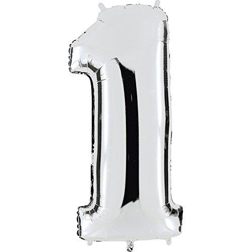 Ballon cijfer 1 in zilver - XXL reuzenaantal 100 cm - voor verjaardag jubileum & co - party cadeau decoratie folieballon luchtballon Happy Birthday