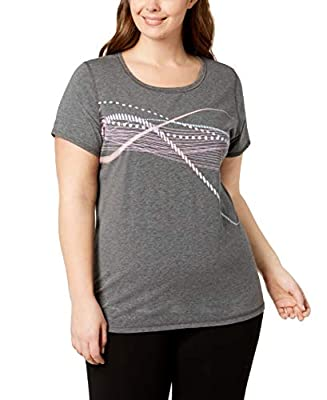 Ideology Women's Plus Size Graphic T-Shirt, Charcoal Heather, 2X