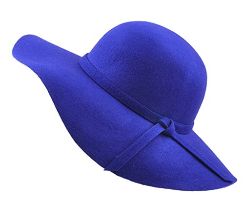 Urban GoCo Mujer Vintage Sombrero Lana Gorra Borde Amplio Bowler Cloche Bombín Invierno (Azul Real)
